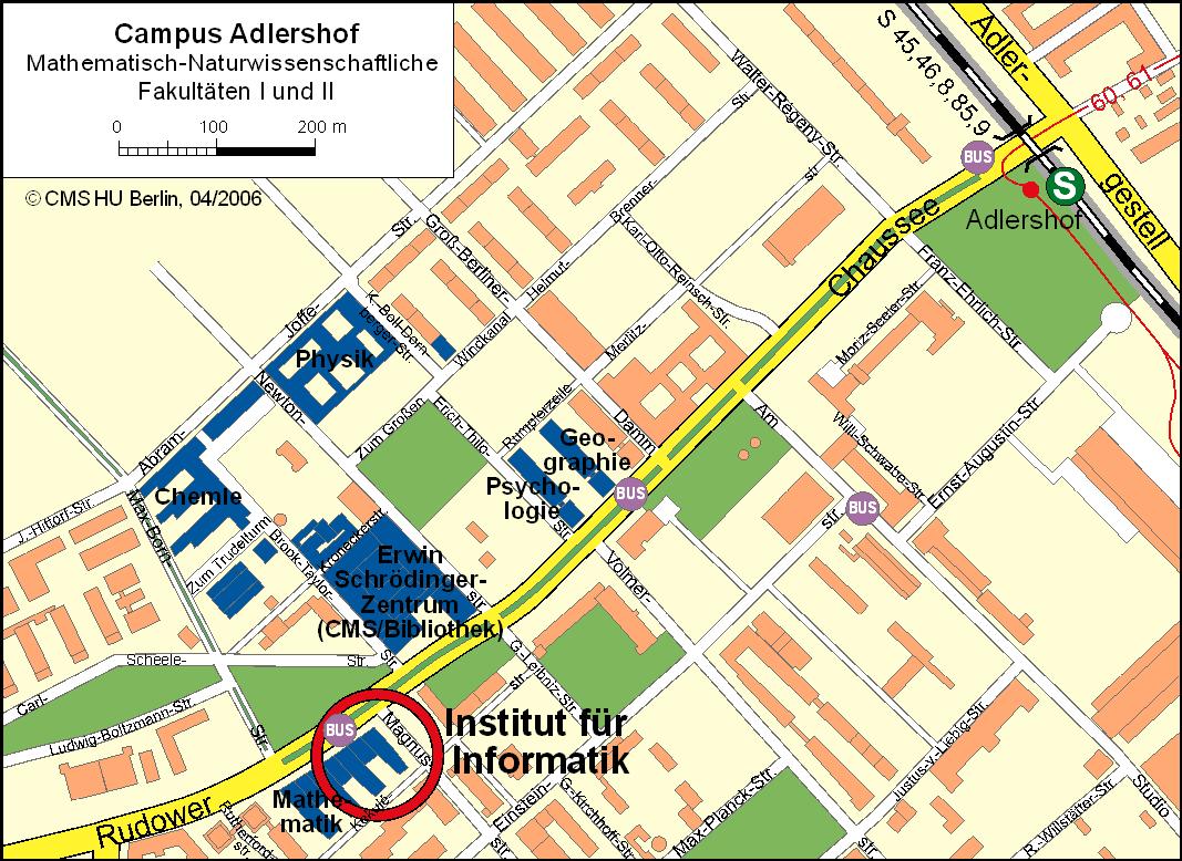 Lageplan mit Institutsgebäude und S-Bahnhof Adlershof